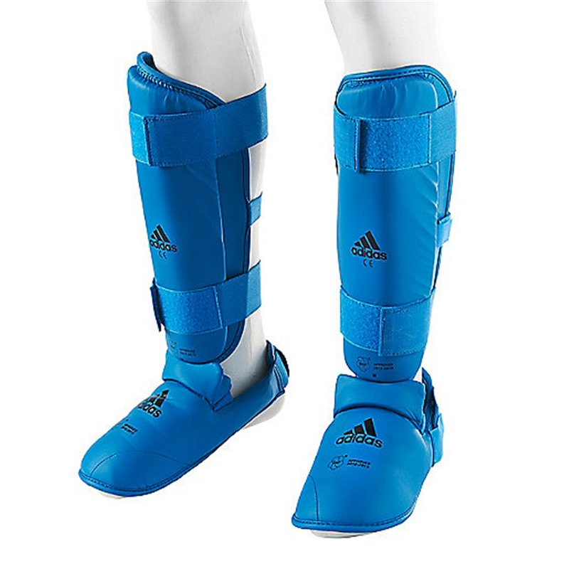 Protege tibias et pieds amovible gel Adidas WKF bleu (la paire)