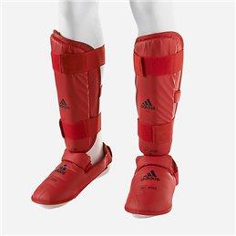 Protege tibias et pieds amovible gel Adidas WKF rouge (la paire)