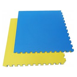 Tatami / Tapis emboitable puzzle 4 cm epaisseur Bleu et jaune lot de 5 dalles de 1m²