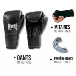 Kit boxe debutant Gants mitaines et protege dents Metal boxe
