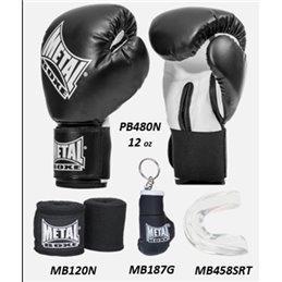 Kit boxe debutant Gants mitaines et protege dents Metal boxe 12 oz