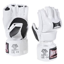 Gants combat libre competition Metal Boxe blanc