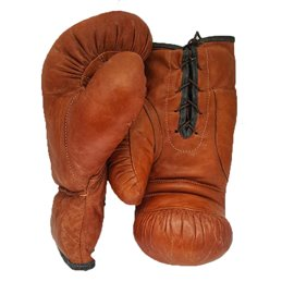 Gants boxe vintage collection cuir Camel