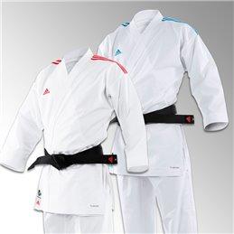 Kimono Adidas blanc kumite combat Revoflex bandes rouges