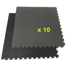 Tatami / Tapis emboitable puzzle 2 cm epaisseur Noir et gris lot de 10 dalles de 1m²