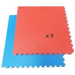 Tatami / Tapis emboitable puzzle 4 cm epaisseur Bleu et rouge lot de 5 dalles de 1m²