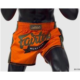 Short muay thai Fairtex Orange marquage vert