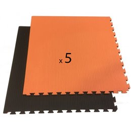 Tatami / Tapis emboitable puzzle 4 cm epaisseur noir et orange lot de 5 dalles de 1m²