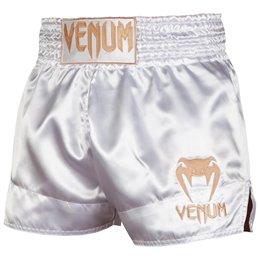 Short de Muay Thai Venum Classic blanc/or