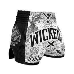Short Muay-thai et Kick WickedOne Dragon thai Blanc