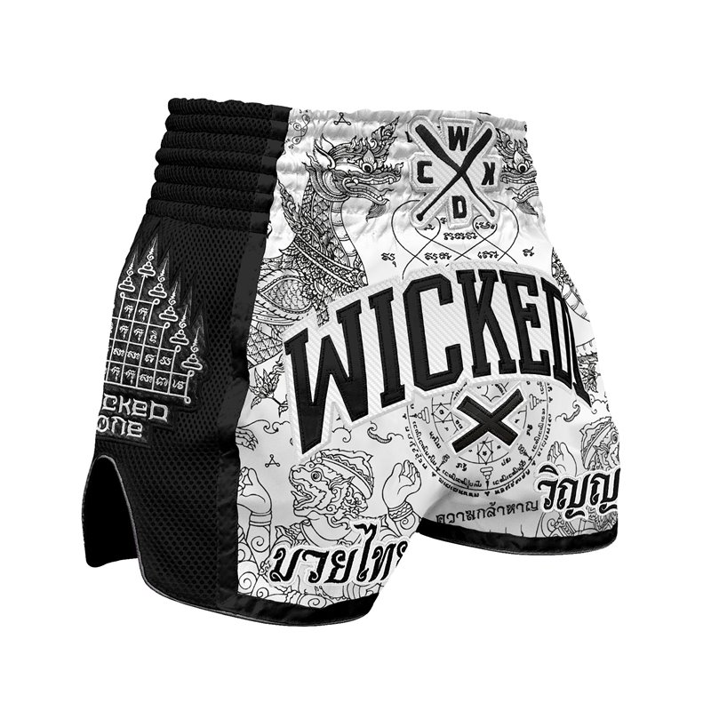 Short Muay-thai et Kick WickedOne Dragon thai Blanc