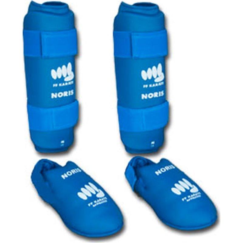 Protection tibias et pieds homologué FF Karate Noris bleu