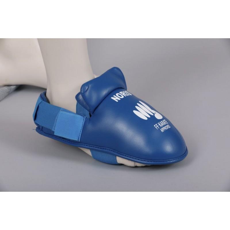 Protection pieds homologué FF Karate Noris bleu