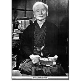 Toile canvas Maitre Gichin Funakoshi noir et blanc 60 x 45 cm