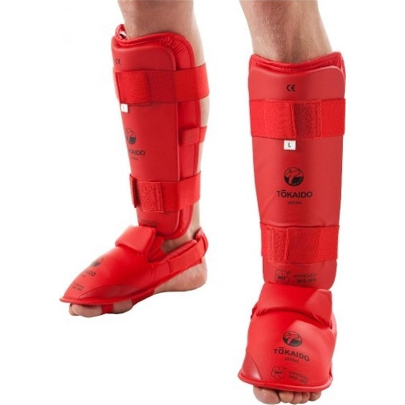 Protege tibias et pieds amovible gel Tokaido WKF rouge